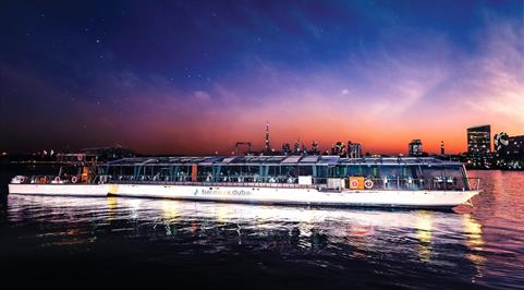 Bateaux Dubai Boat Exterior at Night